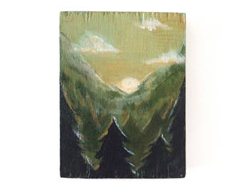 Miniature Forest Landscape Acrylic Painting on Wood