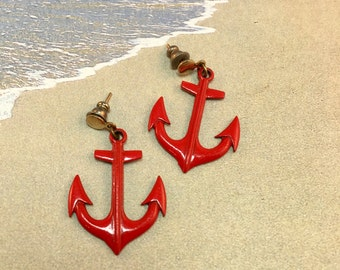 Vintage Red Anchor Post Earrings, Enameled Nautical Anchor,  1 and 3/8 Inches Long 7/8 Inches Wide Previously 14 Dollars ON SALE