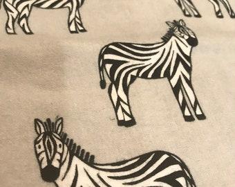 Zebra and plaid flannel burp cloth