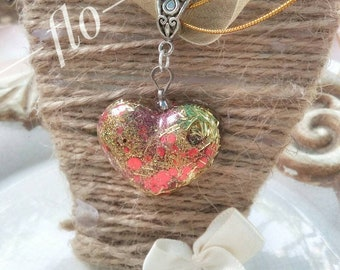 Organza Necklace with resin heart
