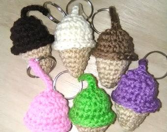 Crochet ice cream cone keychains, crochet keychains, ice cream keychains, crochet ice cream, crochet ice cream cone,