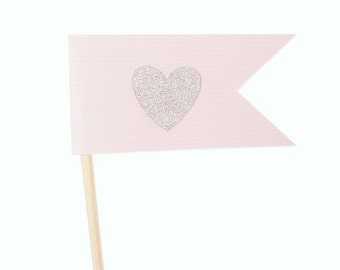 Pink and Silver Flag Heart Cupcake Toppers / Appetizer Picks / Food Picks /