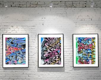 Graffiti Art, Graffiti Wall Art, Set of 3 Prints, Modern Art, Modern Decor, Loft Decor, Urban Photography, Punk Art, Birmingham UK, Colorful