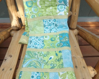 Modern Patchwork Gender Neutral Baby Nursery Simply Charming Patchwork Blue Green Aqua Quilt