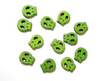 Alien Skull Beads, 5pcs, Alien Sugar Skulls, 15 x 13mm, Green, Day of the Dead, Dia de los Muertos, Destash