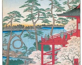 Hand-cut wooden jigsaw puzzle. KIYOMIZU TEMPLE JAPAN. Hiroshige. Japanese woodblock print.  Wood, collectible. Bella Puzzles.