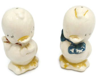 1950's American Bisque Pottery Duckling Salt And Pepper Shakers