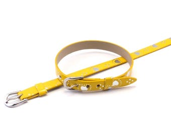 Leather yellow silver heart bracelet