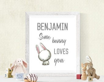 Personalized SomeBunny Loves You Nursery Digital Print, Baby Decor, Download, Boy's Room or Girl's Room Wall Art, Woodland Bunny, 8x10 #4