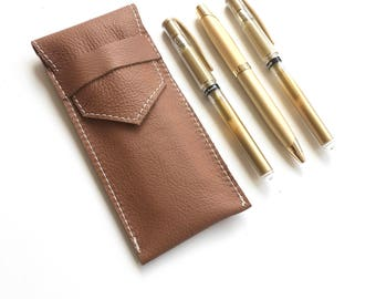 Leather Pen Pouch - Brown - Fountain Pen Case - Leather Pen Holder