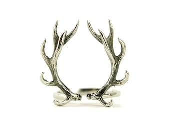 Hirschgeweih Ring Antik Silber Farbe verstellbaren Ring Hörner Wrap Ring Boho Schmuck - FRI001