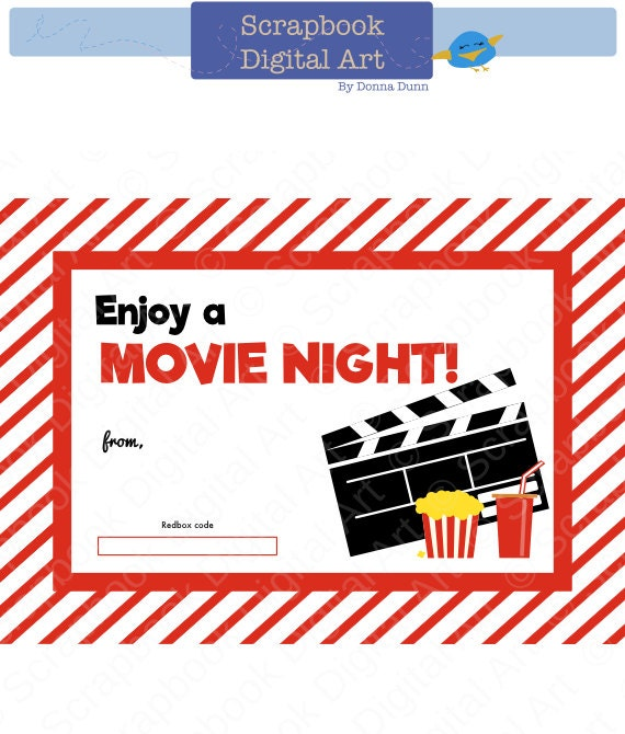 Printable Redbox Gift Card Tag Printable Card Movie Night