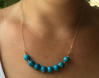 Blue howlite necklace, Howlite goldfilled necklace, Blue gemstone, Gold howlite necklace, Gold necklace, Howlite Beads, Blue necklace,