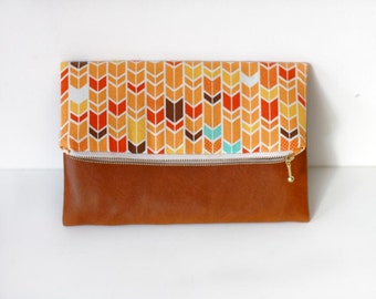Fold over clutch, cotton and vegan leather clutch purse, orange chevron clutch, autumn color clutch
