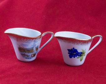 Pair of Vintage Cottier Freres Small Individual Creamers Switzerland Geneva Gold Trim