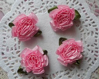 Pink satin flower green leaves of 3.50 cm wide (x 4 flowers)