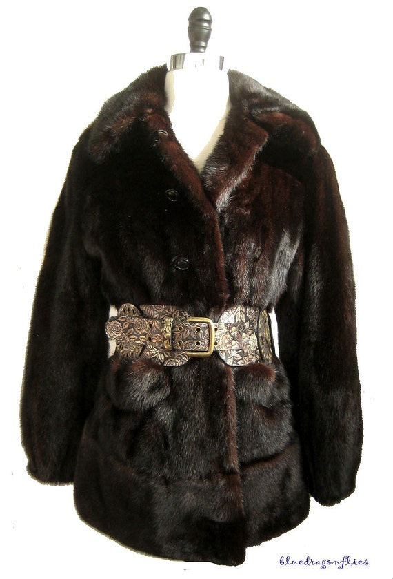 gift MAHOGANY ~ MINK Jacket Brown Ruby Coat FUR Darkest Ranch Luxury Pristine aP7xR7