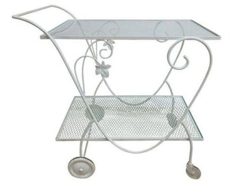 Vintage Metal Woodard T Cart Server Bar Outdoor Porch