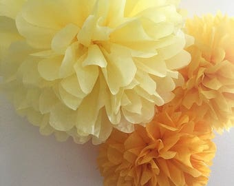 HAPPY YELLOWS 3 tissue paper pompoms aisle marker wedding decorations bridal cocktail luncheon baby twin shower nursery ombre fiesta prop