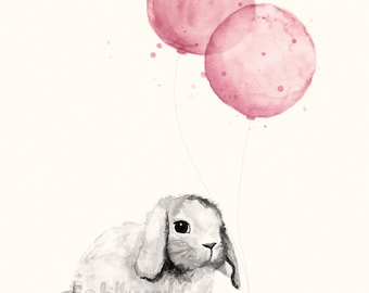 Baby Girl Nursery Print 8x10 / A4, Rose Pink Shabby Chic Nursery Decor, Watercolour Illustration of Bunny Rabbit and Balloons
