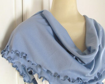 Pastel Blue Hydrangea Infinity Scarf Cowl with Royal Blue Ruffled Edge
