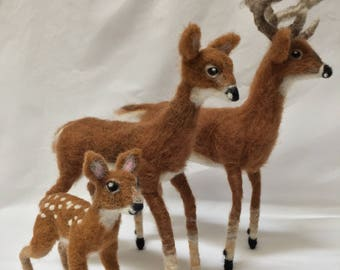 Needle Felted Deer Family wool sculptures