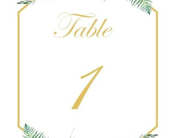Gold/Burgundy 4x6 Table Numbers