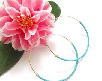 "NEW Gold Turquoise Hoops, Thin Gold Hoop Earrings, Beaded, Boho, Minimalist  2"" Hoops, Big Hoops, Classic hoops, Mother's Day Gift,"