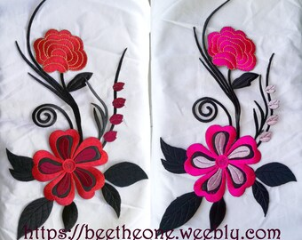 Maxi Applique embroidery Patch iron-on sew-on Big Flowers 28,5 x 18 cm - 2 colors available