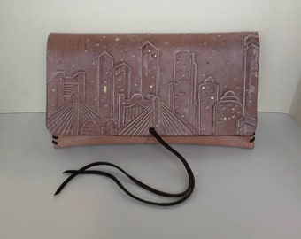 Handmade Leather Clutch bag with Boston in the Snow design