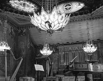 Royal Pavilion, Music Room, Brighton England, old European theatre, mid1960s, black and white photography, theatrical decor, vintage photo