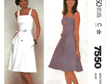 McCall's 7550 Misses Quick And Easy Back Wrapped Jumper Or Sundress Pattern, 8, 10 & 14, UNCUT