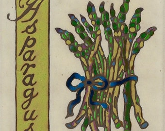 Hand Painted Ceramic Tile Asparagus Original Art