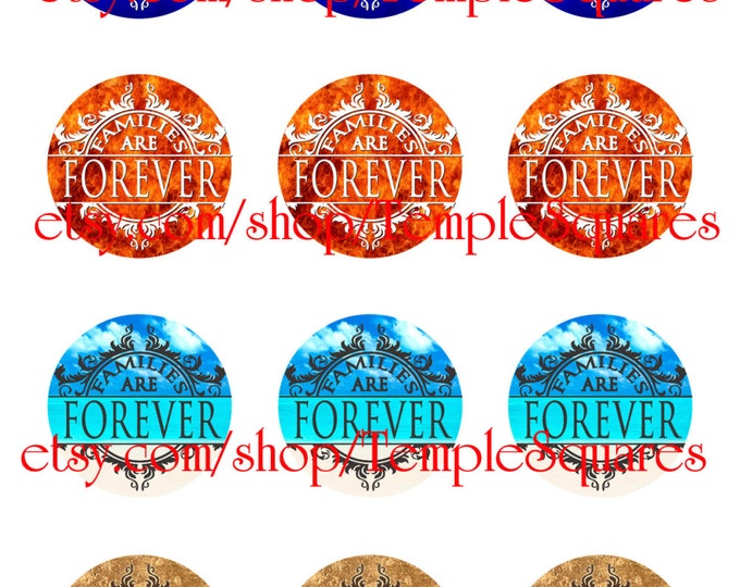 "Printable Digital File. Variety of designs on 1"" circles LDS Families Are Forever. For crafts, primary, seminary, visiting teaching."