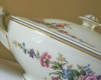 Czech Covered Casserole Dish, Porcelain Serving Dish, Covered Vegetable Dish, HW Czech Covered Serving Dish, Vintage Porcelain Dish
