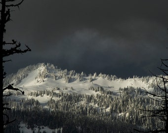 Digital download Stormy winter clouds over North Cascade mountains at Mt.Baker ski area photography print Landscape fine art photography