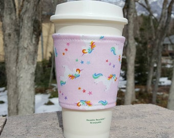 FREE SHIPPING UPGRADE with minimum -  Fabric coffee cozy / cup sleeve / coffee sleeve / drink cozy - Rainbow Unicorn