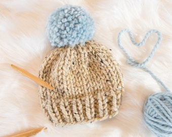 Baby Knit Hat / Child Chunky Beanie / Knit Baby Hat Pom Pom / Toddler Knit Baby Hat / Knit Child Hat