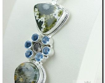 Made in Canada! Ocean Jasper Aquamarine Prasiolite 925 SOLID Sterling Silver Pendant + 4mm Snake Chain & Worldwide Shipping