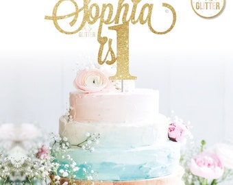 Customised cake topper, Birthday, Gold cake topper, glitter cake topper, custom, personalised cake smash first 1st 1 one any name