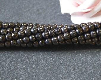 x 50 round beads Czech glass 4 mm jet bronze picasso PTC330