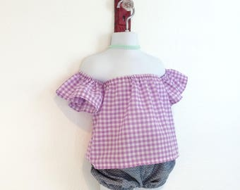 Purple Gingham Off The Shoulder Top|| Girls Top|| Baby Crop Top || Coachella Top|| Baby Shirt||Ready to Ship