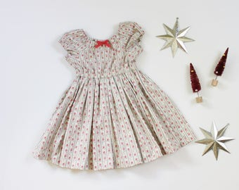 Floral Christmas Peasant Dress - Sizes 12-24m and 2T RTS
