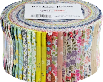 "Flo's Little Flowers from Lewis and Irene - Jelly Roll Small Scale Flowers - (40) 2.5"" x 44"" Strips"