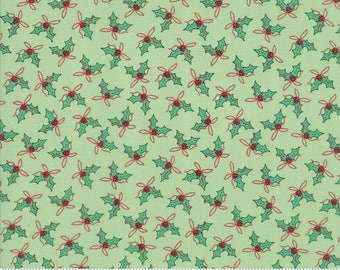 Christmas Fabric - Moda Sugar Plum Christmas Fabric - Green Holly Fabric By The 1/2 Yard