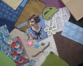 Card making scrap pack Vintage picture papers envelope string ephemera 25 pcs