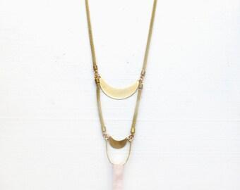 Double terminated quartz//Moon phase necklace//Rose quartz//Tiger's eye//Labradorite//Smoky Quartz//Crescent moon necklace//Gift for woman