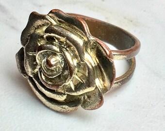 Vintage Floral Silver Tone Ring