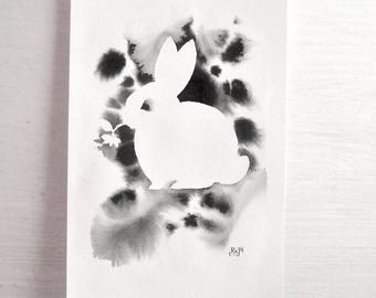 Original Painting Bunny silhouette with ink wash