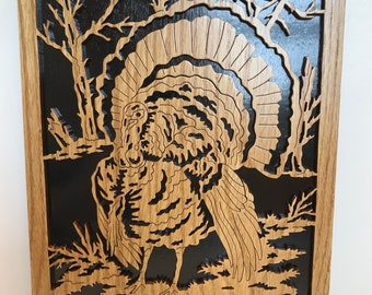 Turkey in a woods, woodworking, scroll saw, woods, wall hanging, fretwork, thanksgiving